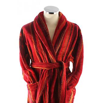 Bown of London Venezia Egyptian Cotton Velour Dressing Gown - Red/Orange