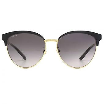 Gucci-Metall Cateye Sonnenbrillen In Schwarz-Gold