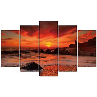 Wellindal Pyramid 5 Pieces Canvas Red See- Hpp055-87 (Decoration , Pictures and frames)