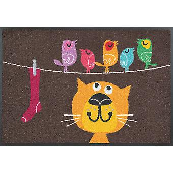 wash + dry mat of birds on wire 50 x 75 cm washable floor mat
