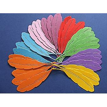 30 Assorted Bright Card Feather Shapes for Crafts
