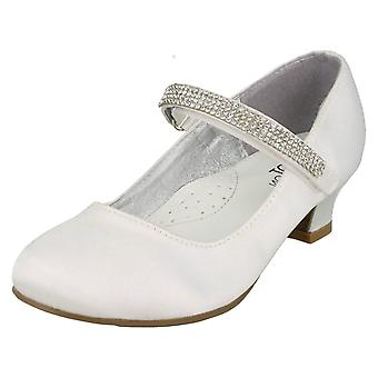 Girls Spot On Mid Heel Diamante Strap Shoes H3066