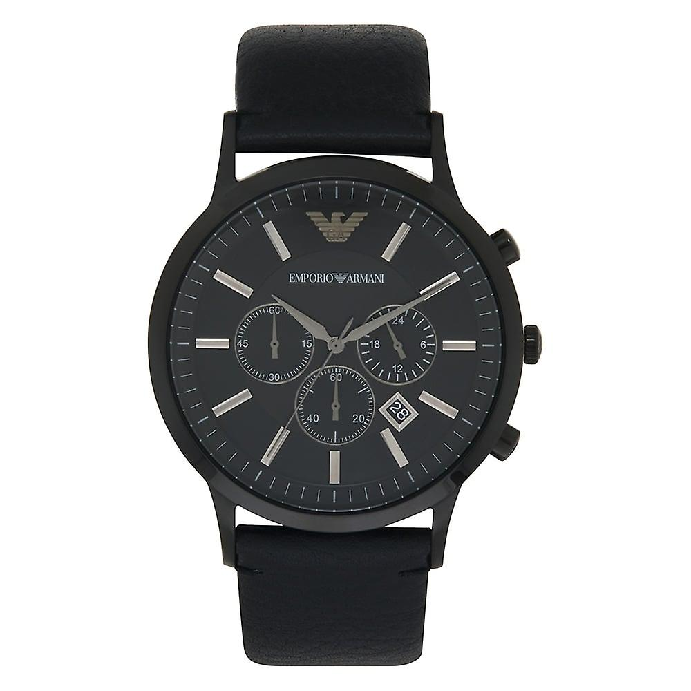 Armani Watches Ar2461 Full Black Genuine Leather Men's Watch