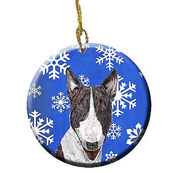 Carolines Treasures  SC9603CO1 Bull Terrier Winter Snowflakes Ceramic Ornament