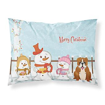 Merry Christmas Carolers English Bulldog Red White Fabric Standard Pillowcase