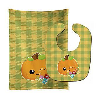 Carolines Treasures  BB6792STBU Mr. Winky Pumpkin Baby Bib & Burp Cloth