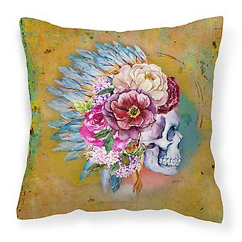 Day of the Dead Flowers Skull  Fabric Decorative Pillow