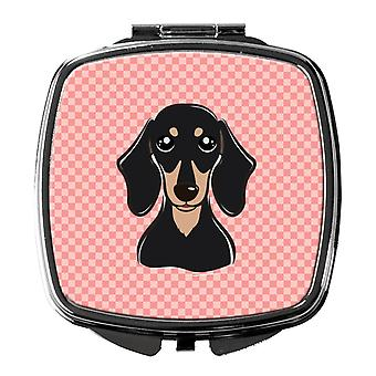 Checkerboard Pink Smooth Black and Tan Dachshund Compact Mirror