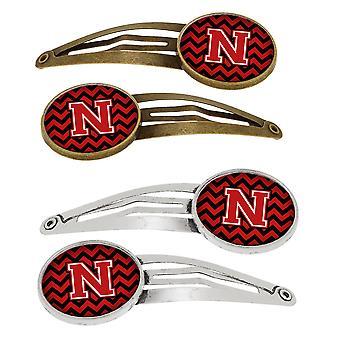 Lettera N Chevron nero e rosso Set di 4 clip per capelli Barrettes