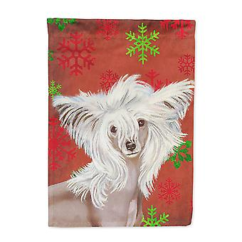 Chinese Crested Red and Green Snowflakes Holiday Christmas Flag