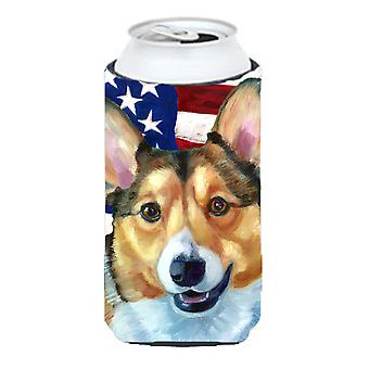 Corgi USA Patriotic American Flag Tall Boy Beverage Insulator Hugger