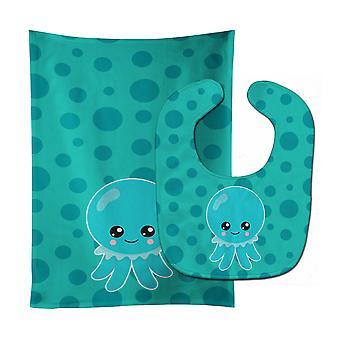 Carolines Treasures  BB8794STBU Ocean Octopus Blue Baby Bib & Burp Cloth