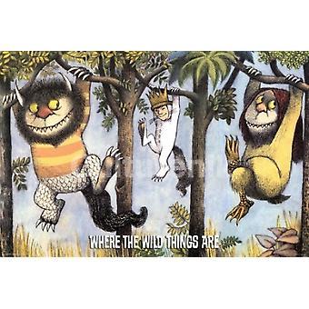 Där Wild Things hänger från träden affisch affisch Skriv