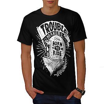 Ride Skull Biker Slogan Men BlackT-shirt | Wellcoda
