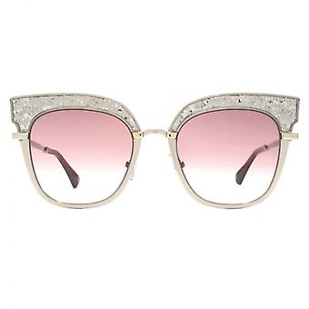 Jimmy Choo Rosy Sunglasses In Gold Glitter