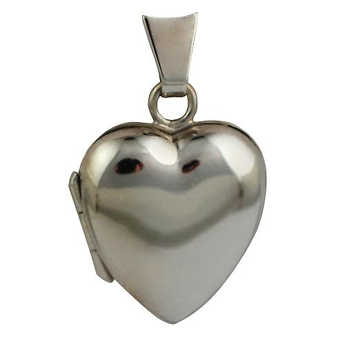 9ct White Gold 17x16mm plain heart shaped Locket