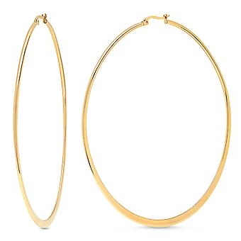 Ladies 18Kt Gold Plated Stainless Steel Flat Hoops Earrings