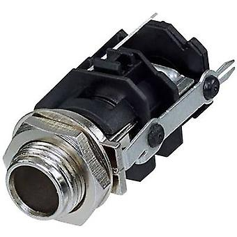 6.35 mm audio jack Socket, vertical vertical Number of pins: 3 Stereo Black Rean AV RJ3VM-D1-CON 1 pc(s)