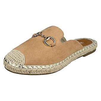 Ladies Spot On Closed Toe Espadrilles F2261 - Tan Microfibre - UK Size 7 - EU Size 40 - US Size 9