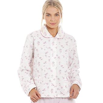 Camille Classic Pink Rose Print Quilted Bed Jacket