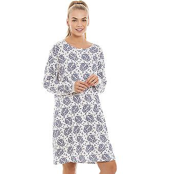 Camille Womens White Floral And Leaf Print Lightweight Nightdress