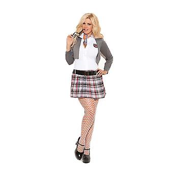 Womens Plus Size Queen of Detention School Girl Outfit Halloween Roleplay Costume