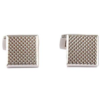 David Aster Square Links Chequered Cufflinks - Silver