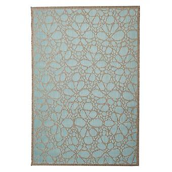 In - and outdoor carpet balcony / living room Fiore light blue natural 160 x 230 cm