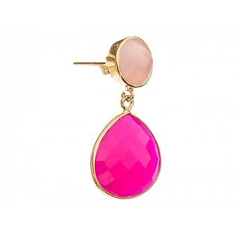 Paar Damen - Ohrringe - 925 Silber Vergoldet - Rosenquarz - Chalcedon - Rosa - Pink - 3,5 cm