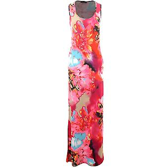 Ladies Leopard Animal Feather Print Multi Colour Maxi Long Bodycon Women's Dress