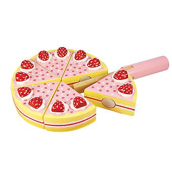 Bigjigs Toys Wooden Play Food Strawberry Party Cake Pretend Role Play
