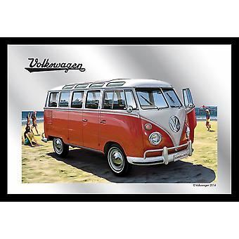 Spiegel VW Bulli T1 Samba VW Lizenz Wandspiegel bedruckt, rot, Kunststoffrahmung schwarz, Holzoptik.