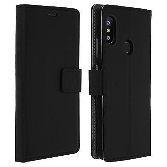 Custodia sottile, capovolgere la copertina del libro, stand caso portafoglio per Xiaomi Mi A2 Lite - nero