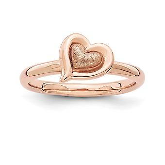 2.25mm 925 Sterling Silver Rose Gold-Flashed Stackable Expressions Pink-plated Heart Ring - Ring Size: 5 to 10