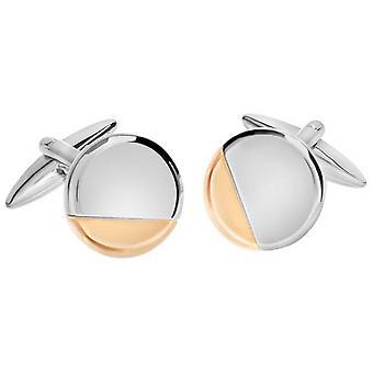 David Van Hagen brilhante círculo cortado canto Design abotoaduras - rosa de ouro/prata