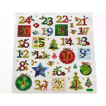 24 Glittered Christmas Advent Calendar Number Stickers