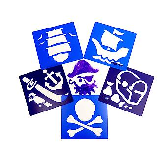 6 Plastic Washable Pirate Stencils for Kids | Kids Craft Stencils