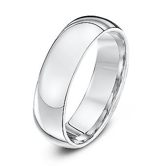 Star Wedding Rings 18ct White Gold Heavy Court Shape 6mm Wedding Ring