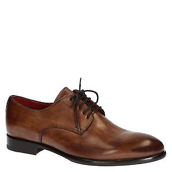 Handmade tan leather lace-up derby shoes for men