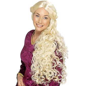 Smiffy's Very Long Blonde Curly Wig, Guinevere Wig, Renaissance Wig, Fancy Dress
