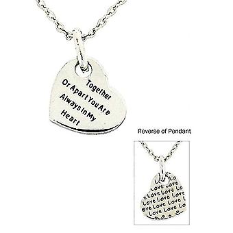 Toc Silvertone 'Together or Apart You...' Love Heart Pendant On 18 Inch Chain