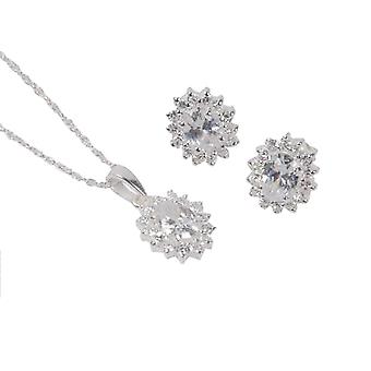 TOC Sterling Silver Clear CZ Oval Stud & Pendant Necklace 18