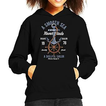A Smooth Sea Never Made A Skillful Sailor Kid's Hooded Sweatshirt