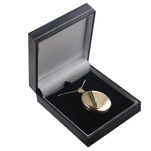 18ct Gold 35x26mm plain handmade oval Locket with a curb Chain 16 inches Only Suitable for Children