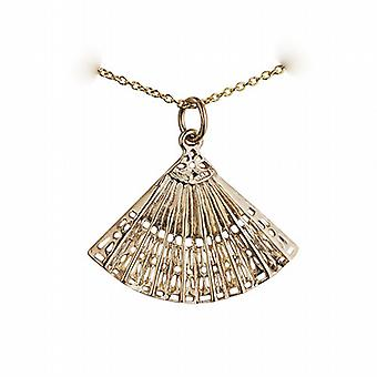 9ct Gold 23x30mm Hand Fan Pendant with a cable Chain 16 inches Only Suitable for Children