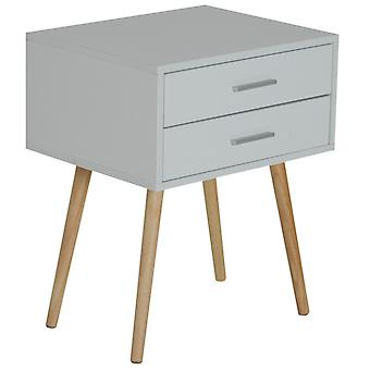 HOMCOM Nordic Bedside Table Two Drawer Side Cabinet Modern White W/ 2 Drawers Scandinavian End Nightstand Wood Storage Unit Lamp Desk
