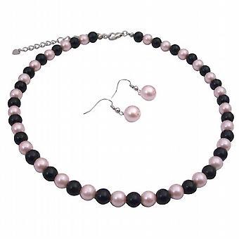 Pink Black Pearls Jewelry Set Smashing Combo Of Pink & Black Beads Set