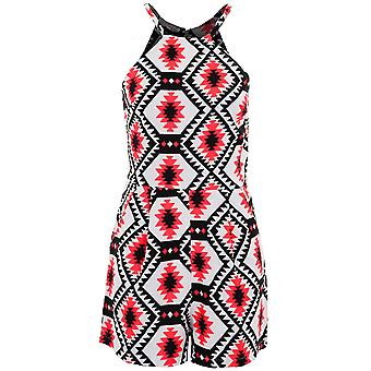 Ladies Strappy Neon rosa Aztec Skriv damer Party sommer i en Playsuit
