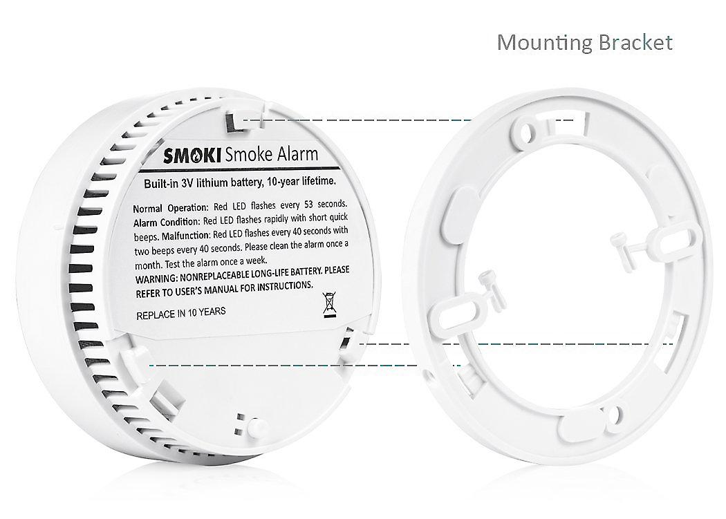 Smoki - Photoelectric Smoke Detector 10 Year Lithium Battery Magnetic Installation (no Screws) EN14604 ROHS NF292 VDS & CE Certified (Multi Language Manual)
