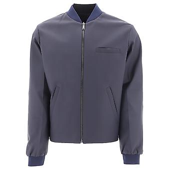 Prada Blue Leather Outerwear Jacket
